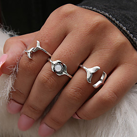 Women's Synthetic Opal Retro Knuckle Ring Ring Set Midi Ring - Resin Fish, Mermaid Personalized, Unique Design, Vintage 7 Silver For Daily Night outSpecial occ