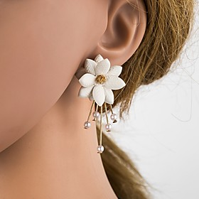 Women's 3D Stud Earrings Imitation Pearl Resin S925 Sterling Silver Earrings Flower Ladies Stylish Classic Jewelry Beige / White For Daily 1 Pair