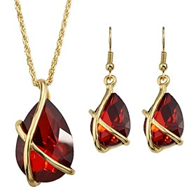 Women's Briolette Jewelry Set Pear Stylish, Luxury Include Stud Earrings Pendant Necklace Red For Daily Date