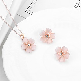 Women's Cubic Zirconia Classic Jewelry Set - Flower Trendy, Sweet, Fashion Include Stud Earrings Pendant Necklace Pink For Evening Party Festival