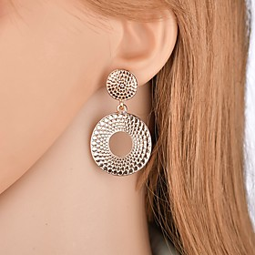 Women's Hollow Out Drop Earrings - Geometric, Hyperbole, Oversized Gold For Party Party / Evening