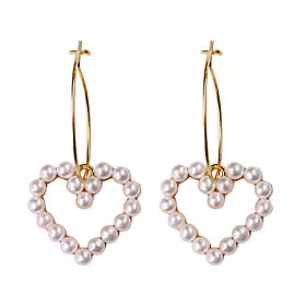 Women's Hollow Hoop Earrings - Imitation Pearl Heart Simple, Sweet, Fashion Golden For Party Date