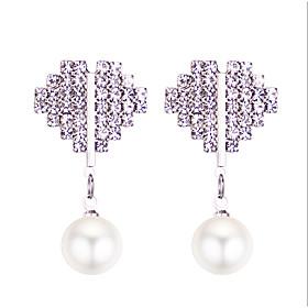 Women's Classic Drop Earrings - Imitation Pearl Heart Sweet, Fashion, Cute Silver For Causal Daily