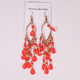 Women's Hollow Out Drop Earrings - Resin Drop Hyperbole, Ethnic, Elegant Red / Green / Blue For Party / Evening Ceremony