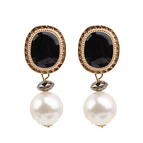 Women's Vintage Style Drop Earrings - Imitation Pearl Geometric, European, Fashion Green / Blue / Pink For Causal Daily