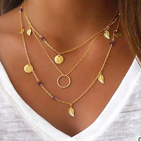 Women's Layered Chain Necklace / Layered Necklace - Leaf Bohemian, Punk Lolita, Fashion Cool, Lovely Gold 40 cm Necklace Jewelry 1pc For Party / Evening, Masqu