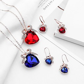 Women's Crystal Hollow Out Jewelry Set - Heart, Bowknot Trendy, Sweet, Fashion Include Drop Earrings Pendant Necklace Bridal Jewelry Sets Red / Blue / Champagn
