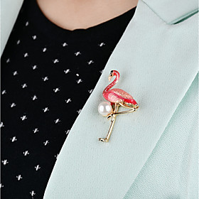 Women's Classic Brooches - Imitation Pearl Bird Unique Design Brooch Pearl Pink / Green For Daily / Evening Party