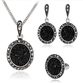 Women's Black Cubic Zirconia Retro Jewelry Set - Vintage Include Vintage Necklace Silver For Party Daily