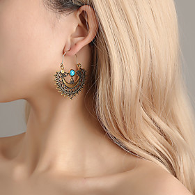 Women's Hollow Out Drop Earrings - Vintage, Ethnic, Boho Gold / Silver For Party / Evening Ceremony