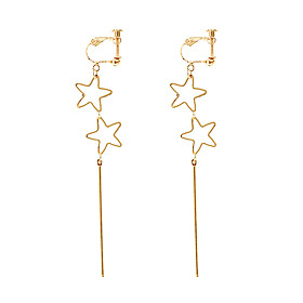 Women's Hollow Clip Earrings - Star Simple, Korean, Fashion Gold For Causal Daily