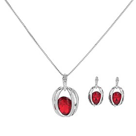 Women's Crystal Hollow Out Jewelry Set - Imitation Diamond Simple, Trendy, Fashion Include Drop Earrings Pendant Necklace Dark Blue / Purple / Red For Evening