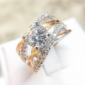 Women's Clear Diamond Cubic Zirconia Crossover Band Ring Ring Copper Rose Gold Plated Imitation Diamond Gypsophila Unique Design Fashion Elegant Ring Jewelry R