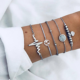 5pcs Women's Retro Beads Chain Bracelet Charm Bracelet Pendant Bracelet Resin Maps Sweet Heart Heart Rate Ladies Fashion Hip-Hop Boho Bracelet Jewelry Silver F