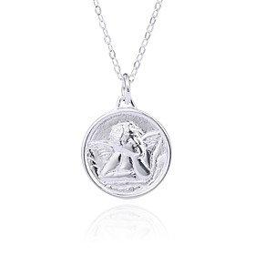 Women's Engraved Pendant Necklace Silver Plated S925 Sterling Silver Stylish Artistic European Silver 40 cm Necklace Jewelry 1pc For Daily Formal