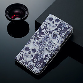 Case For Samsung Galaxy S9 Plus / S9 Card Holder / with Stand / Flip Full Body Cases Skull Hard PU Leather for S9 / S9 Plus / S8 Plus