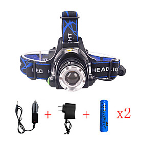 568-T6 01 Headlamps LED Cree T6 Emitters 2000 lm 3 Mode with Chargers Zoomable Waterproof Adjustable Focus Camping / Hiking / Caving Everyday Use Diving / Boa
