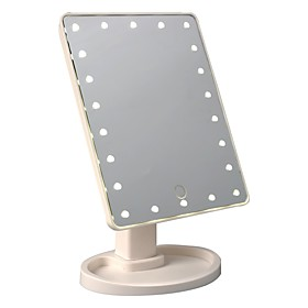 Novelty LED Touch Screen Cosmetic Mirror 22led 360 degrees rotating Desk Storage Battery AA Light LED Cosmetic Mirror