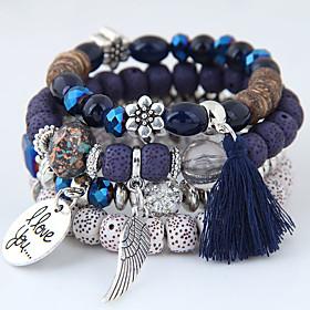 Women's Beads Charm Bracelet Bead Bracelet Resin Wings Love Tassel European Ethnic Bracelet Jewelry Gray / Red / Blue For Gift Daily