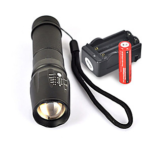 UltraFire W-878 LED Flashlights / Torch LED Cree XM-L T6 1 Emitters 1800 lm 5 Mode with Batteries and Charger Nonslip grip Camping / Hiking / Caving Everyday