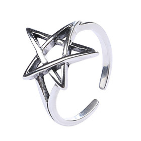 Women's Crossover Open Ring S925 Sterling Silver Star Star of David Stylish Rustic / Lodge Artistic Ring Jewelry Silver For Work Club