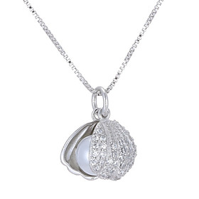 Women's AAA Cubic Zirconia Classic Pendant Necklace Imitation Pearl Shell stardust Dainty Simple Cool Silver 46 cm Necklace Jewelry 1pc For Wedding Engagement