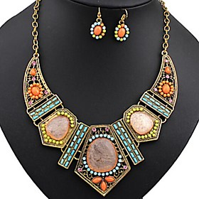 Women's Bib Jewelry Set Resin, Rhinestone Ladies, Bohemian, Africa, Colorful, African Include Statement Necklace Dangle Earrings Rainbow For Party Vacation