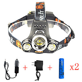 Headlamps Safety Light Headlight LED Cree XM-L2 Emitters 13000 lm 1 Mode with Batteries and Chargers Anglehead Suitable for Vehicles Super Light Camping / Hik