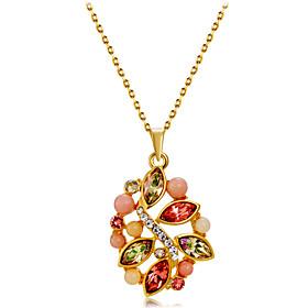 Women's Multicolor Crystal Singapore Pendant Necklace Gold Plated Imitation Diamond Flower Romantic Fashion Elegant Cute Gold 43 cm Necklace Jewelry 1pc For Da