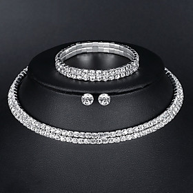 Women's Tennis Chain Jewelry Set Rhinestone European, Fashion, Elegant Include Necklace Earrings Bracelet Silver For Wedding Evening Party