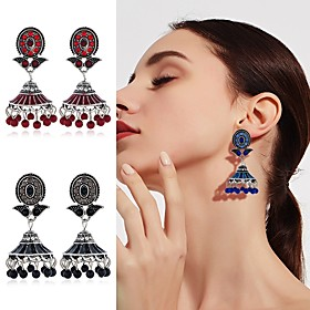 Women's Vintage Style Drop Earrings Imitation Pearl Gold Plated Earrings Ethnic Jewelry Black / Gold / Red / Blue For Stage Holiday 1 Pair