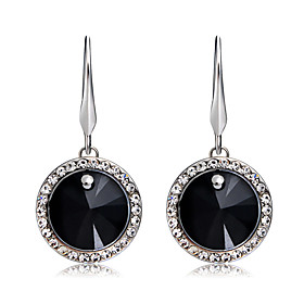 Women's Black Crystal Round Cut Drop Earrings Silver Plated Imitation Diamond Earrings Stylish Romantic Modern Jewelry Black / Silver For Party Formal Office