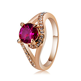 Women's Fuchsia Crystal Classic Ring Promise Ring Rose Gold Plated Imitation Diamond Stylish Classic Elegant Ring Jewelry Rose Gold For Wedding Party Formal Pr