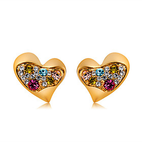 Women's Multicolor Crystal Classic Stud Earrings Gold Plated Imitation Diamond Earrings Heart Romantic Modern Cute Jewelry Gold For Daily Formal Office  Career