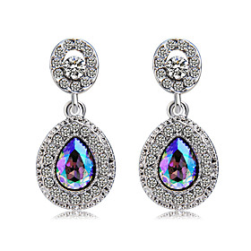Women's Multicolor Crystal Classic Drop Earrings Silver Plated Imitation Diamond Earrings Drop Stylish Modern Cute Jewelry Silver For Party Birthday Formal 1 P