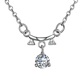 Women's Clear Diamond Cubic Zirconia Rolo Pendant Necklace Chain Necklace Necklace Silver Plated Libra Simple Basic Romantic Fashion Cute Wedding Silver 46 cm