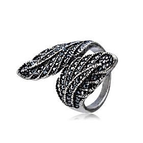 Couple's Black Cubic Zirconia Vintage Style Ring Copper Silver Plated Imitation Diamond Feather Stylish Artistic Rock Ring Jewelry Black For Party Evening Part