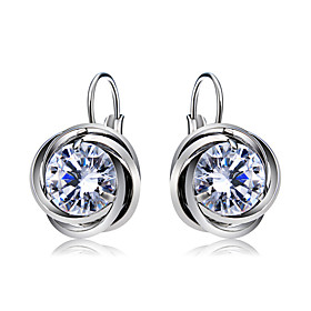 Women's Clear Crystal Classic Drop Earrings Silver Plated Earrings Stylish Romantic Cute Jewelry Silver For Party Formal Office  Career 1 Pair