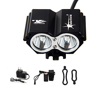 Headlamps Bike Light LED Cree T6 2 Emitters 3000 lm 4 Mode with Battery and Charger Waterproof Rechargeable Emergency Cycling / Bike