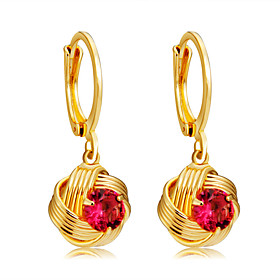 Women's Fuchsia Crystal Classic Drop Earrings Gold Plated Earrings Ball Stylish Romantic Modern Jewelry Gold For Daily Formal Office  Career 1 Pair