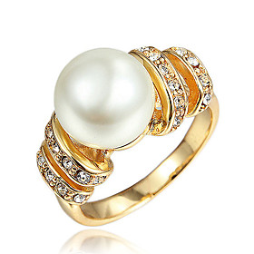 Women's White Cubic Zirconia Classic Ring Promise Ring 18K Gold Plated Imitation Pearl Imitation Diamond Stylish Fashion Elegant Ring Jewelry Gold / Silver For