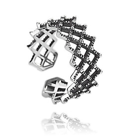 Women's Hollow Out Open Ring S925 Sterling Silver Vintage Punk Ring Jewelry Black For Engagement Gift Club Adjustable