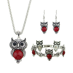 Women's Black Red Tourmaline Vintage Style Jewelry Set Owl Vintage, Fashion Include Pendant Necklace Earrings / Bracelet Black / Red For Daily Date