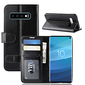Case For Samsung Galaxy Galaxy S10 / Galaxy S10 E Wallet / Card Holder / with Stand Full Body Cases Solid Colored Hard PU Leather for S9 / S9 Plus / Galaxy S10