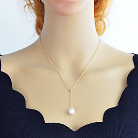 Women's Lariat Y Necklace Pearl Simple Fashion Lovely Gold Silver 46 cm Necklace Jewelry 1pc For Daily