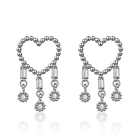 Women's Clear Cubic Zirconia Tassel Stud Earrings Drop Earrings S925 Sterling Silver Earrings Heart Korean Sweet Fashion Jewelry Silver For Wedding Party 1 Pai