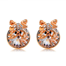Women's Clear Crystal Classic Stud Earrings Rose Gold Plated Imitation Diamond Earrings Stylish Romantic Modern Jewelry Rose Gold For Daily Formal Office  Care