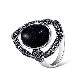 Women's Black Synthetic Tanzanite Hollow Out Ring Silver Plated Imitation Diamond Shield Artistic Romantic Elegant Ring Jewelry Gray For Evening Party Carnival
