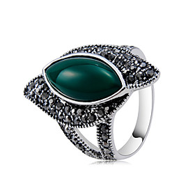 Women's Jasper Jade Ring Copper Silver Plated Imitation Diamond Unique Design Trendy Rock Ring Jewelry Dark Gray For Party Evening Party Carnival 6 / 7 / 8