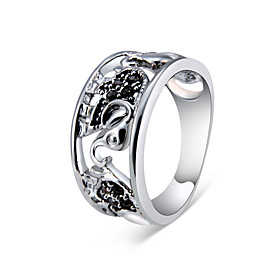 Couple's Black Cubic Zirconia Ring Silver Plated Imitation Diamond Elephant Stylish Fashion Hippie Ring Jewelry Silver For Daily Ceremony Evening Party 6 / 7 /